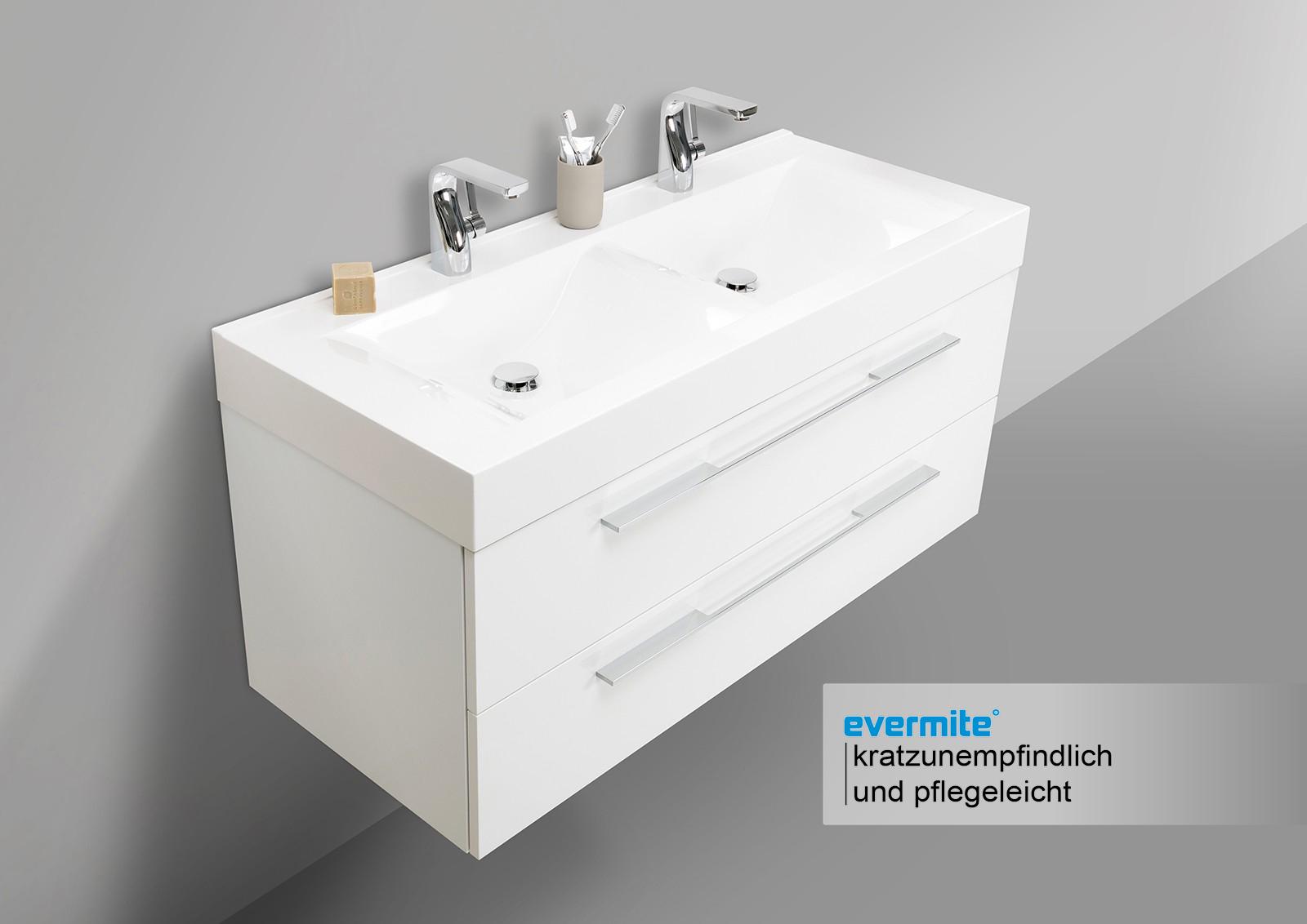 Doppelwaschbecken 120cm badm bel eiche mit led for Spiegelschrank doppelwaschbecken