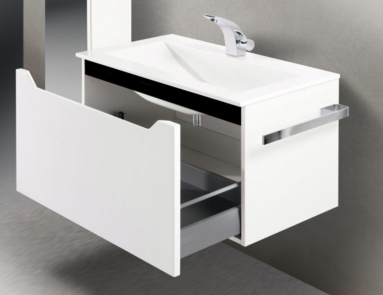 Badmöbel Set 80 cm. Waschtisch mit Unterschrank, grifflos | eBay