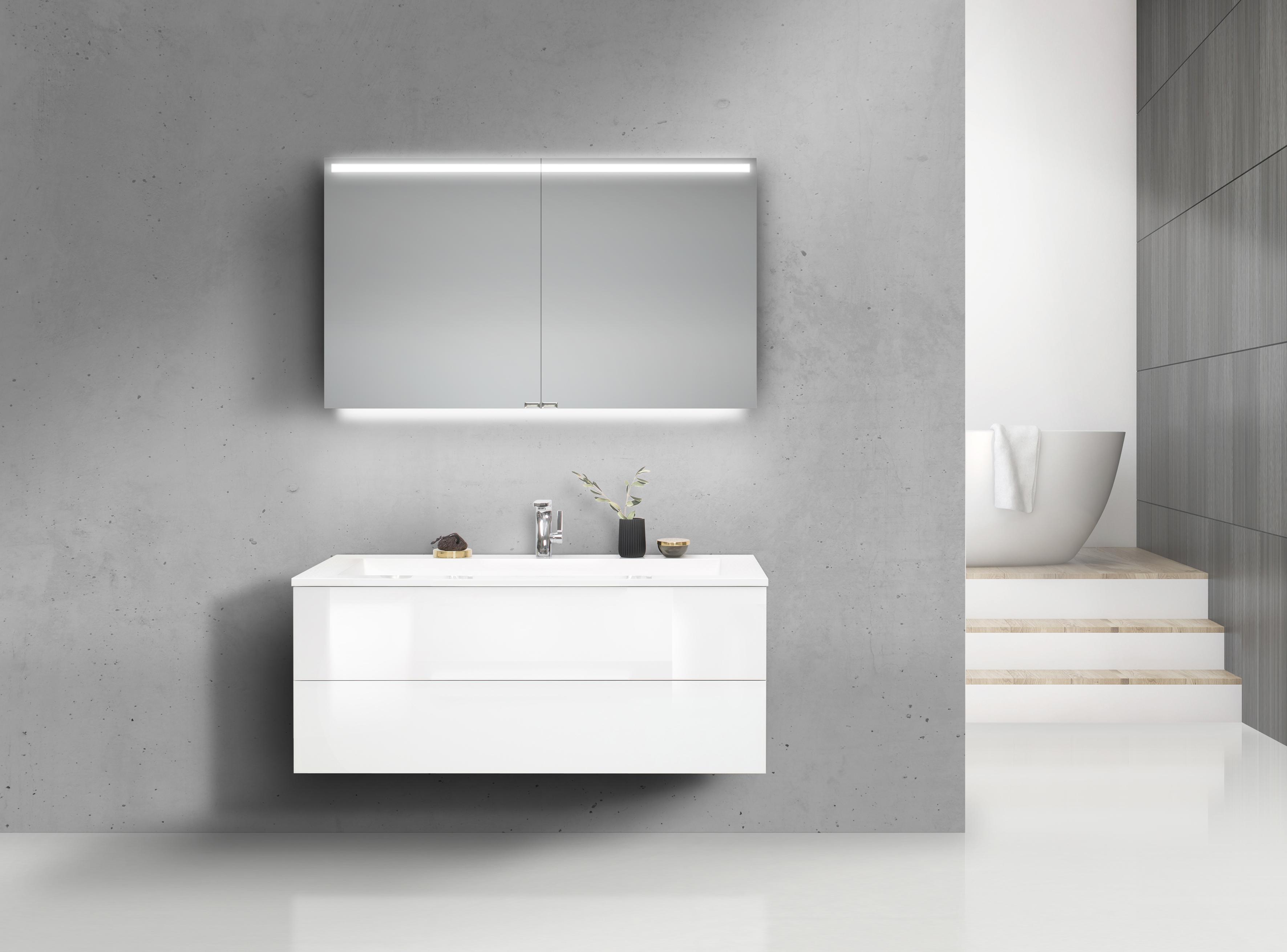 badm bel set cubo grifflos 120 cm waschtisch mit unterschrank und led spiegelschrank. Black Bedroom Furniture Sets. Home Design Ideas