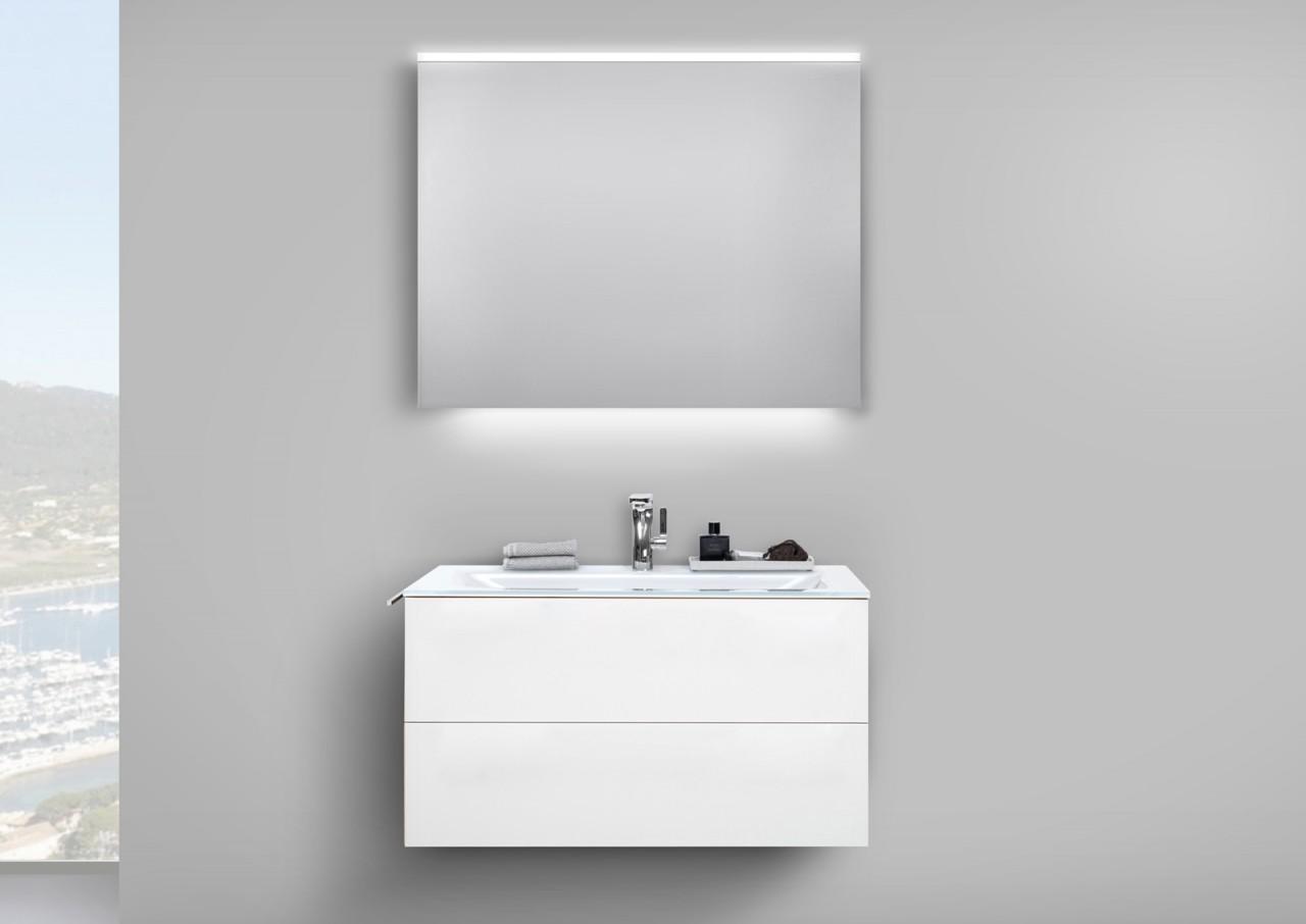 glaswaschtisch 90 cm badm bel grifflos unterschrank mit led lichtspiegel wei h ebay. Black Bedroom Furniture Sets. Home Design Ideas