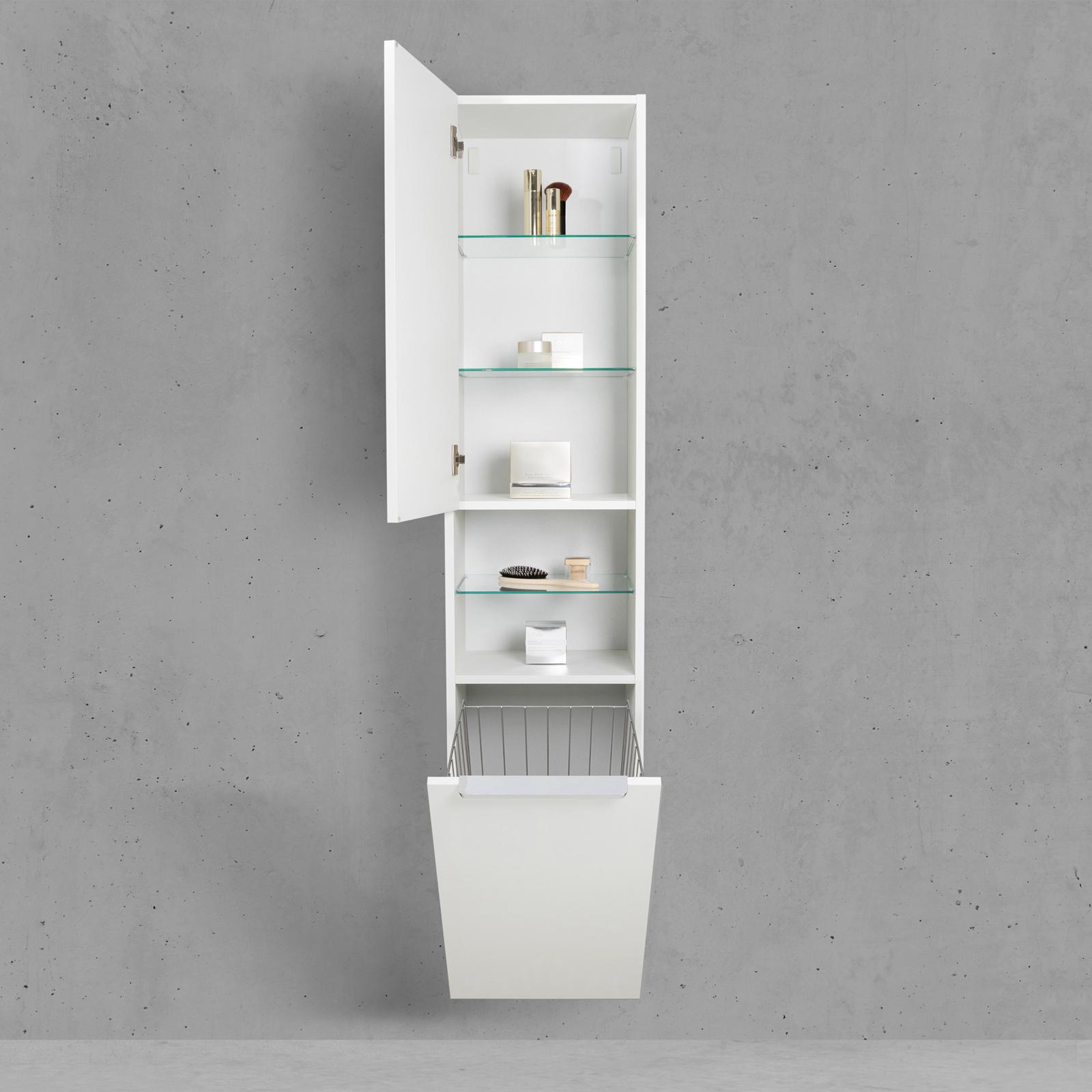 Bad Hochschrank Mit Wäschekippe Seitenschrank Hbt 176640325cm Weiß Hochglanz Lack