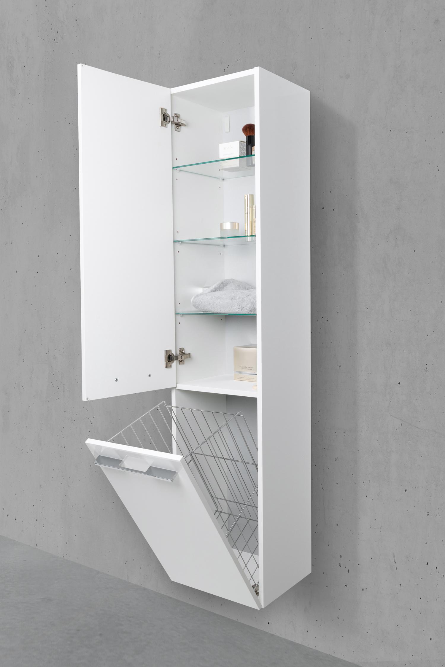 Badschrank mit Wäschekippe Hochschrank H/B/T: 161,6/40/32,5cm Weiß  Hochglanz Lack