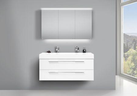 Badmöbel Set Mit Doppelwaschtisch 120cm, Unterschrank Weiss Und LED  Spiegelschrank