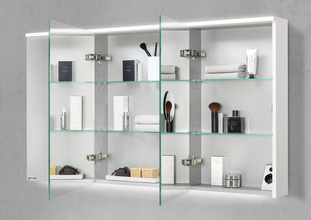 Spiegelschrank 120 cm integrierte led beleuchtung for Spiegelschrank 50 cm hoch