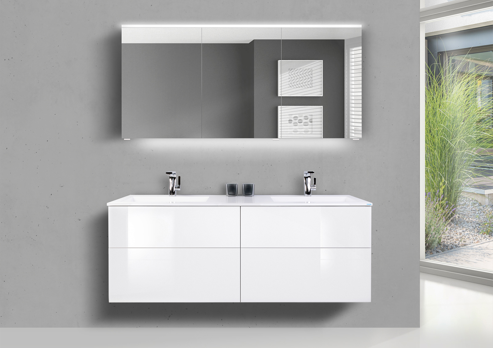 Badmöbel Set SKY grifflos 150 cm Doppelwaschtisch, mit Unterschrank und  Spiegelschrank