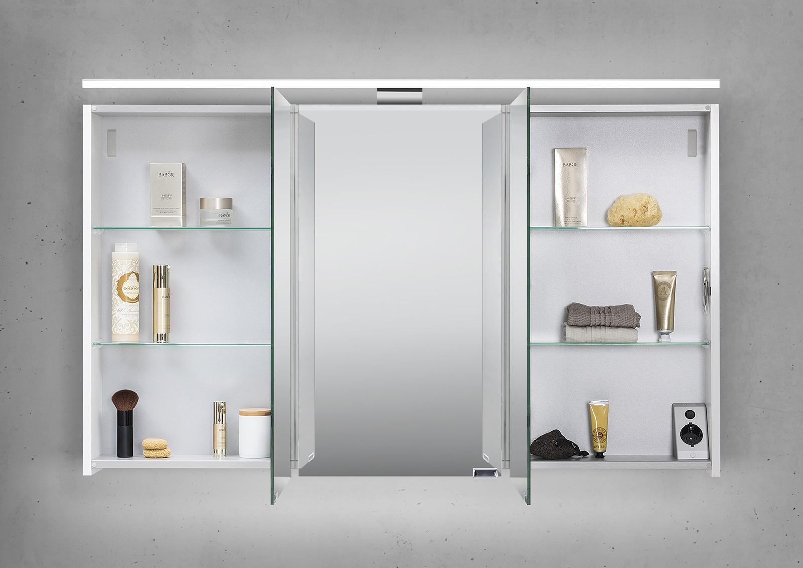 spiegelschrank 120 cm led beleuchtung doppelseitig verspiegelt. Black Bedroom Furniture Sets. Home Design Ideas