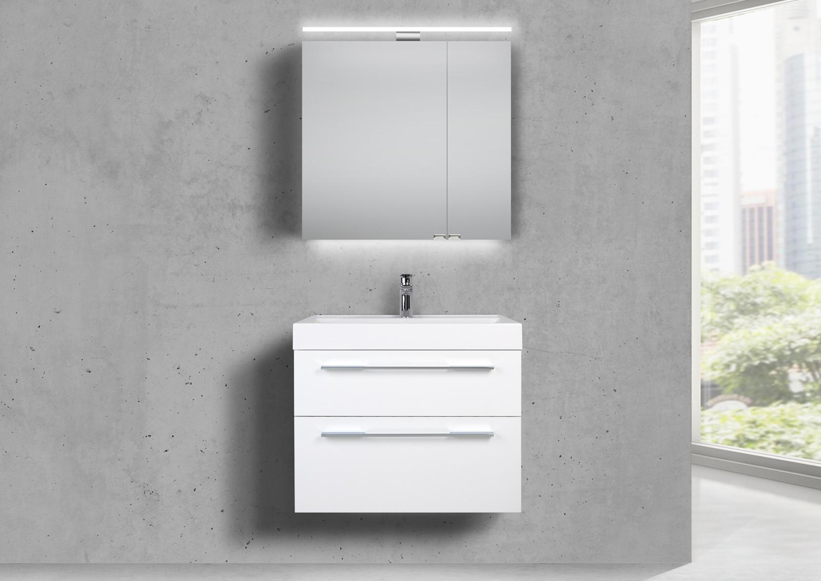 badm bel set 70 cm waschtisch evermite mit spiegelschrank led wei hg lack. Black Bedroom Furniture Sets. Home Design Ideas
