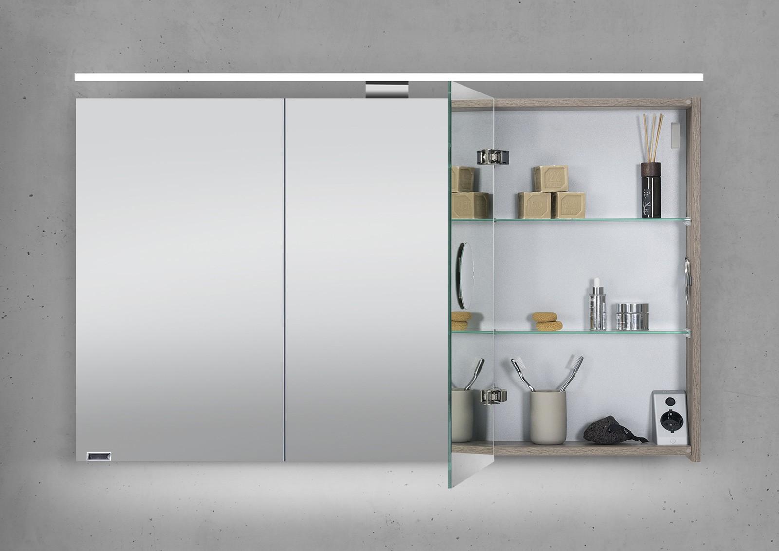 spiegelschrank 120 cm led beleuchtung doppelt verspiegelt. Black Bedroom Furniture Sets. Home Design Ideas