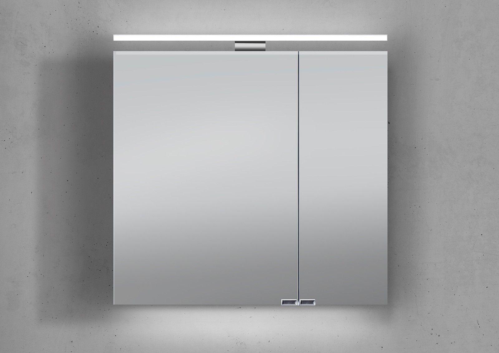 spiegelschrank 70 cm led beleuchtung doppelseitig verspiegelt ... - Badezimmer Spiegelschrank Mit Beleuchtung Günstig
