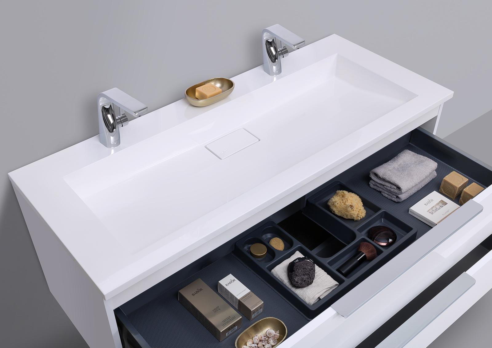 badm bel doppelwaschtisch 120 cm wei hochglanz mit unterschrank und led lichtspiegel. Black Bedroom Furniture Sets. Home Design Ideas