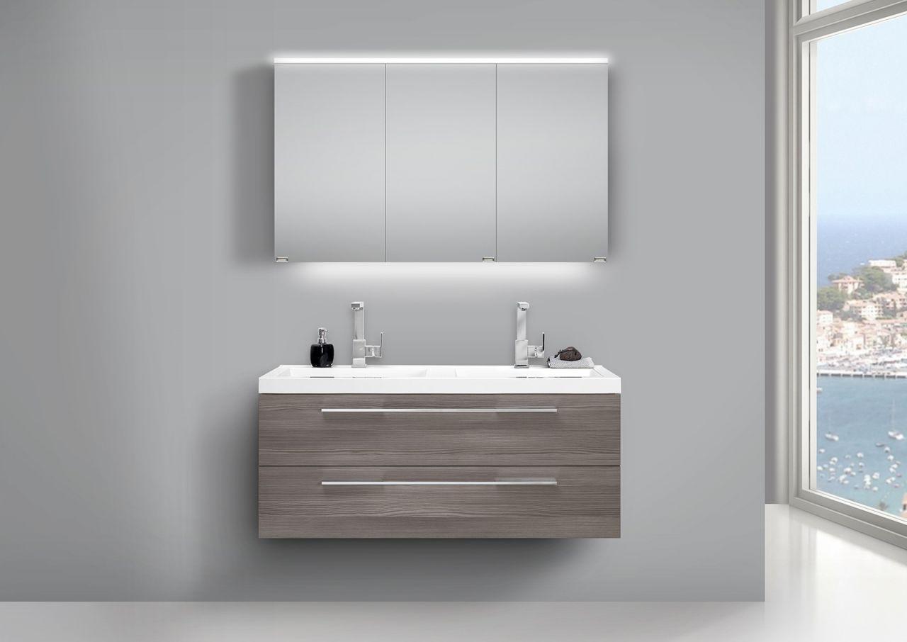 Badezimmermöbel doppelwaschbecken grau  Doppelwaschtisch 120cm und LED Spiegelschrank Design Badmöbel Pinie ...