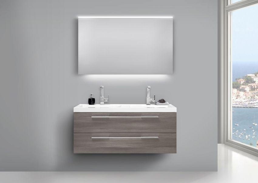 Design Badezimmermöbel Set mit Doppelwaschbecken und LED Lichtspiegel Pinie grau   Bad > Waschbecken   Weiß - Pinie - Grau - Chrom   Pinie - Abs - Stahl   Intarbad