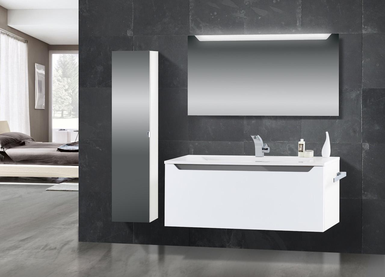 design badm bel set mit waschtisch 120 cm grau hochglanz griffleiste. Black Bedroom Furniture Sets. Home Design Ideas
