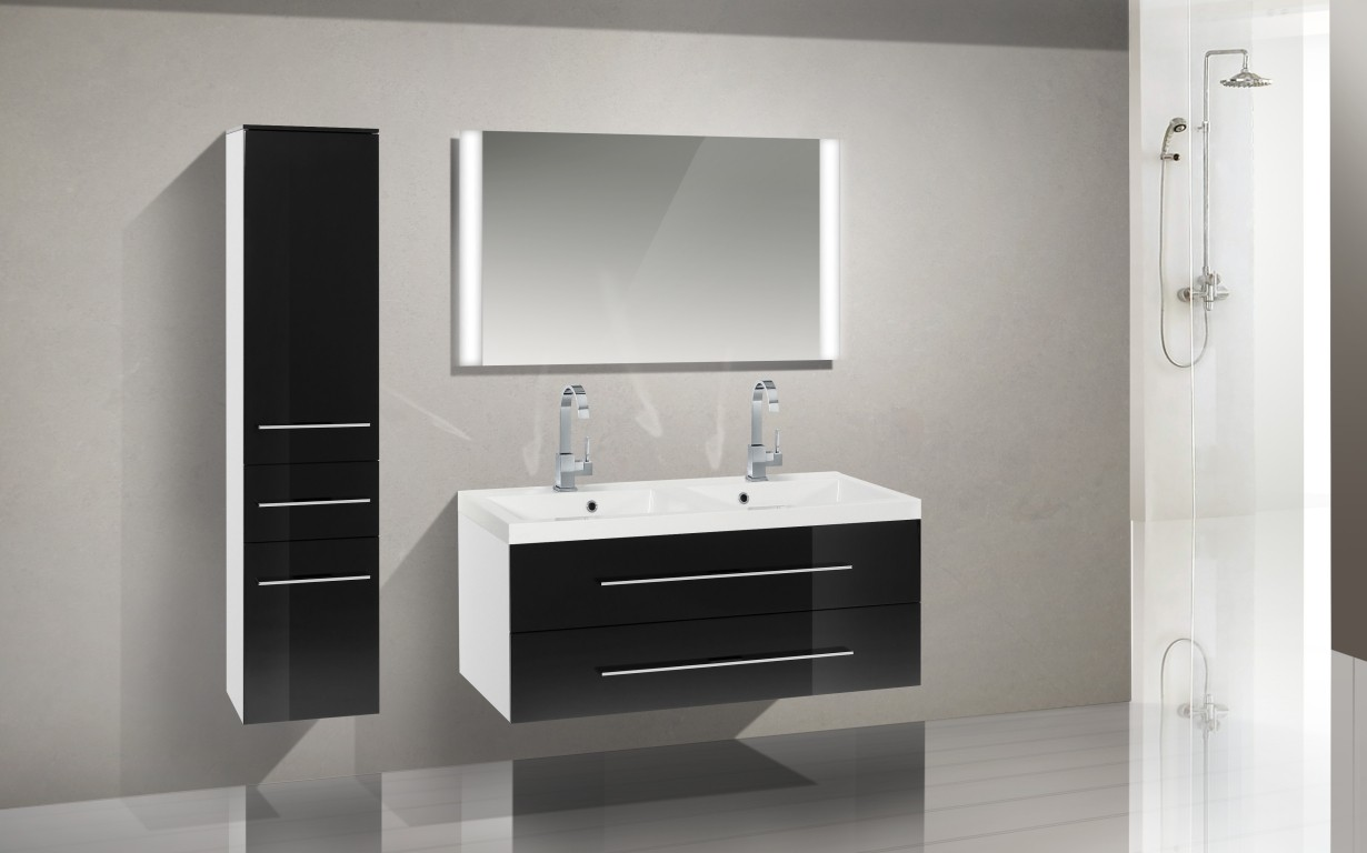 design badm bel set waschbecken 120cm doppelwaschtisch. Black Bedroom Furniture Sets. Home Design Ideas