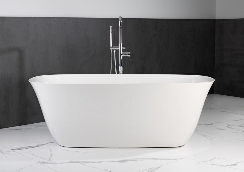 Freistehende Badewanne aus Mineralguss 170x77x62 cm in Weiß Glanz