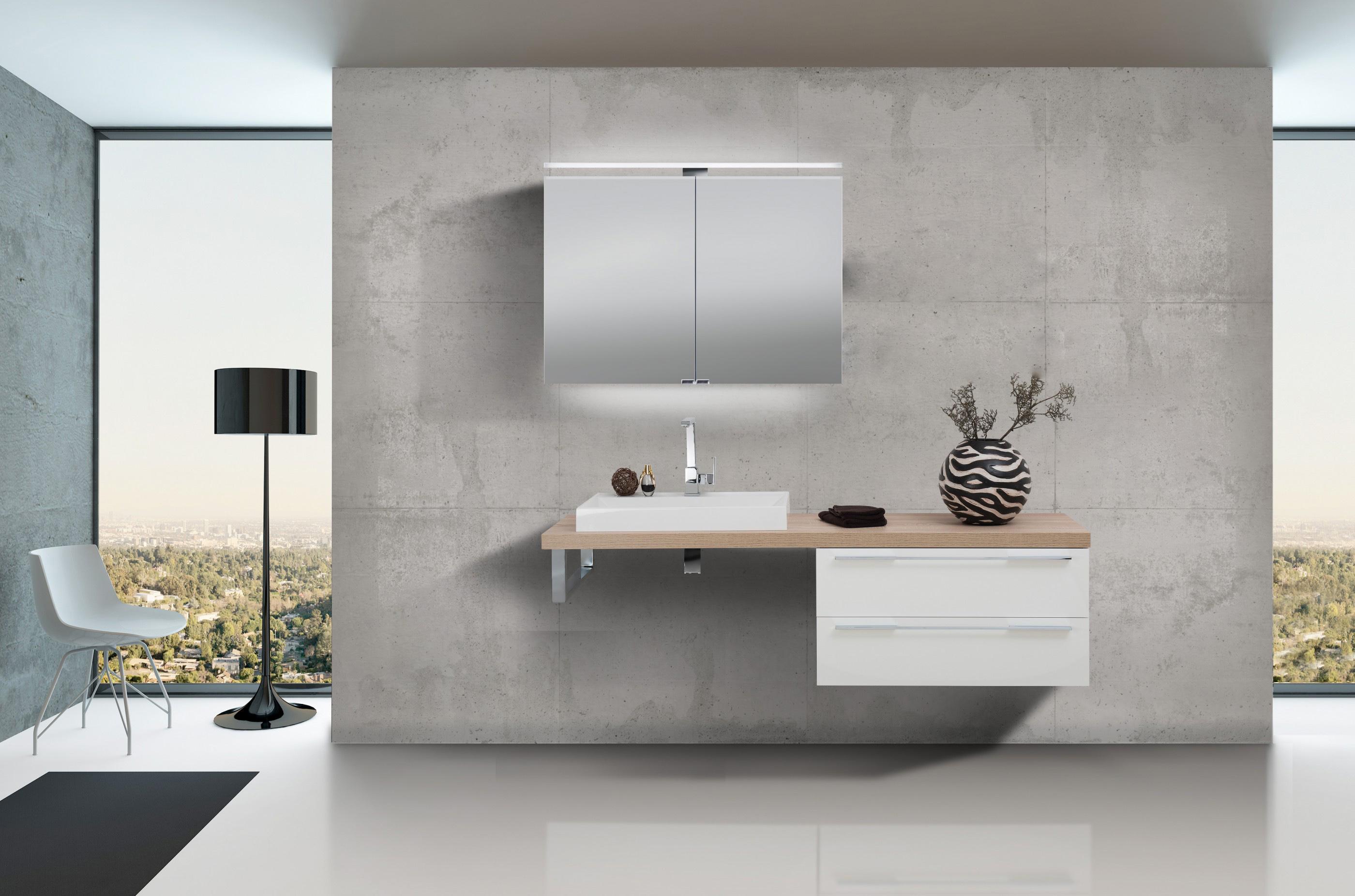 Design badezimmerset mit waschbecken spiegelschrank for Design spiegelschrank