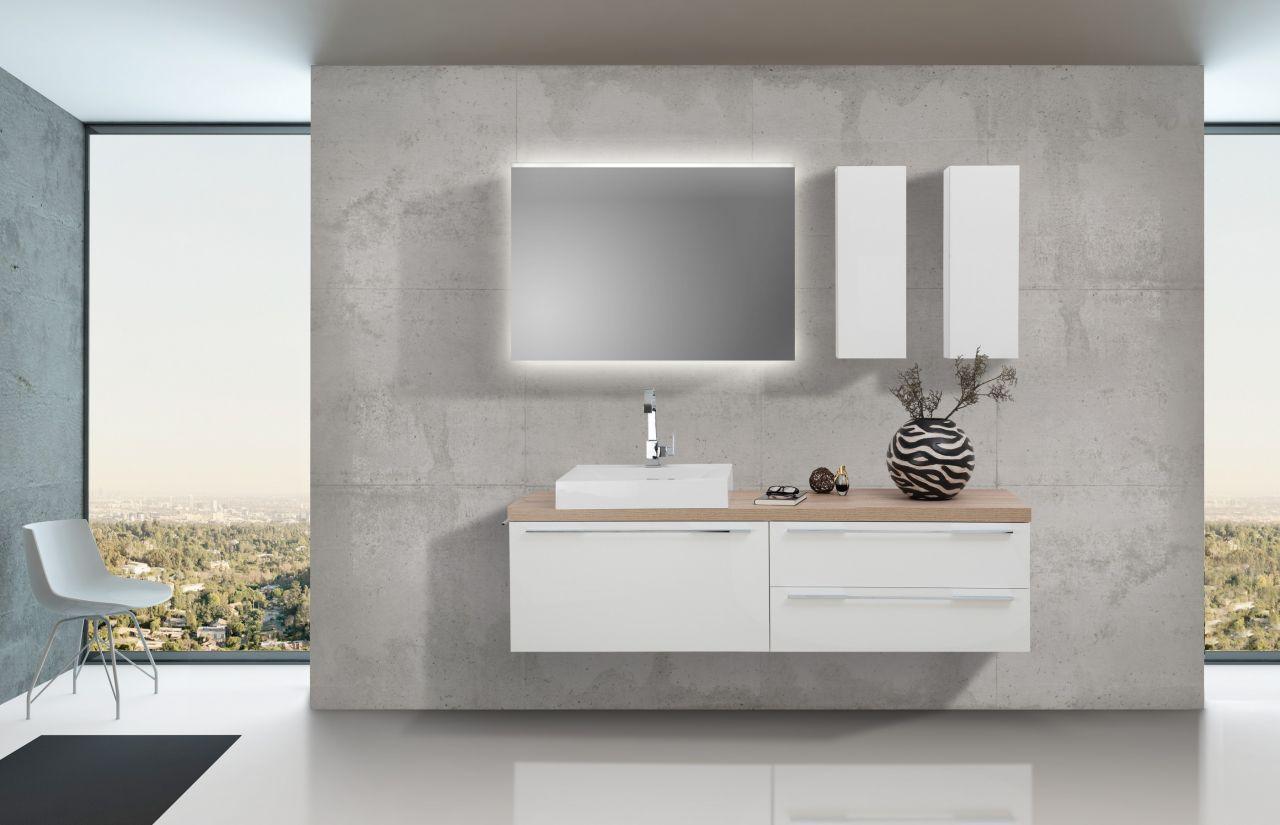 Badezimmer Set mit LED Lichtspiegel, Unterschrank und ...