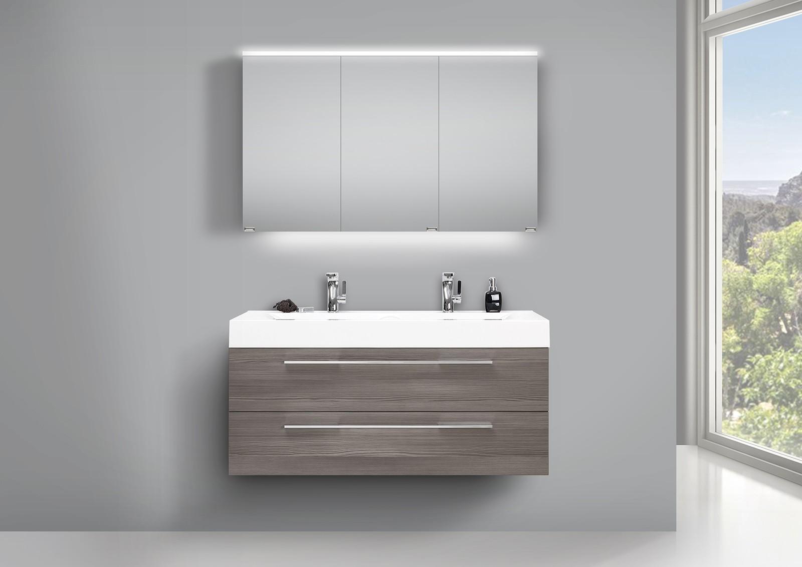 design doppelwaschtisch badezimmer set mit unterschrank und led spiegelschrank. Black Bedroom Furniture Sets. Home Design Ideas