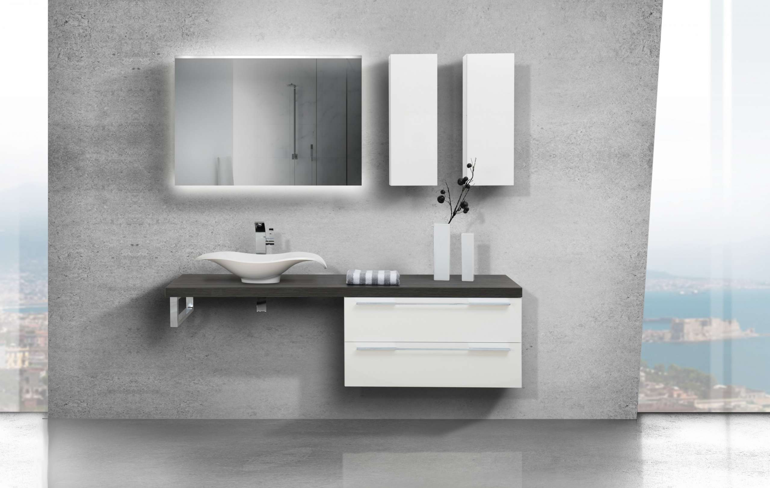 Design Badezimmer Set Mit LED Lichtspiegel Und Oberschrank |  Designbaeder.com