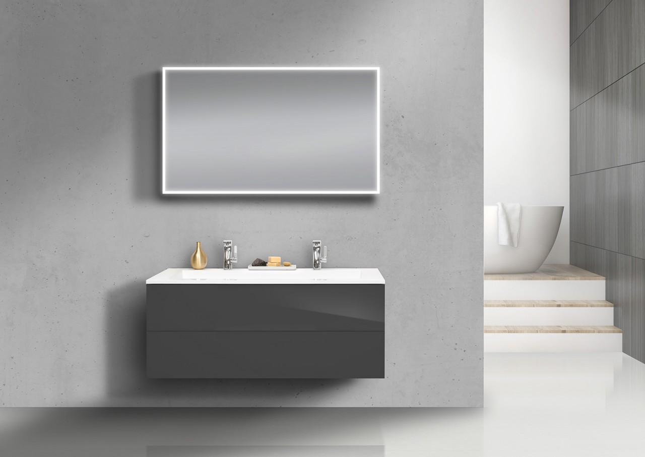 badm bel set grifflos doppelwaschtisch 120 cm unterschrank mit led lichtspiegel ebay. Black Bedroom Furniture Sets. Home Design Ideas