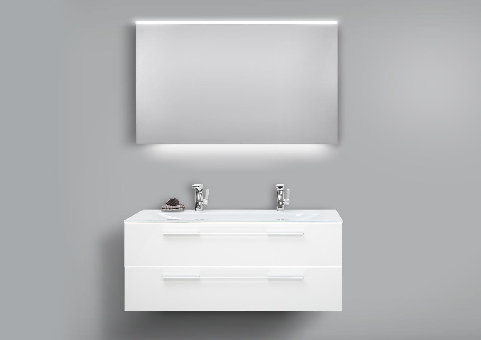 Badm bel set glaswaschtisch 120 doppelwaschbecken mit unterschrank lichtspiegel - Badmobel set doppelwaschbecken ...