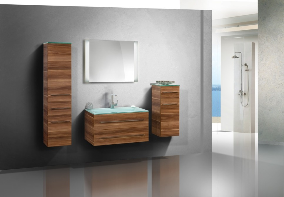 badm bel set mit 90 cm glaswaschtisch 385. Black Bedroom Furniture Sets. Home Design Ideas