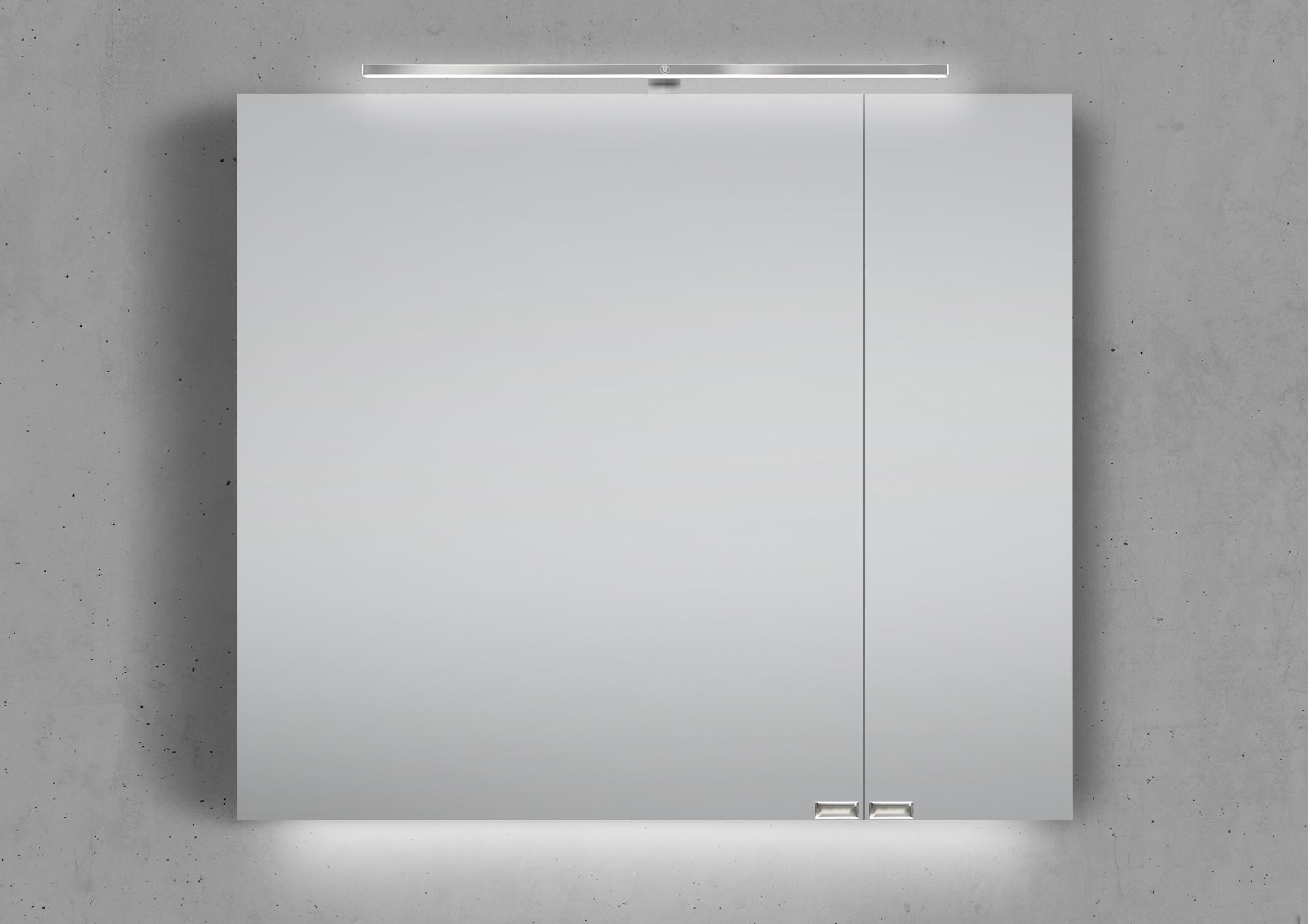 Spiegelschrank 80 cm LED Beleuchtung mit Farbwechsel doppelseitig  verspiegelt