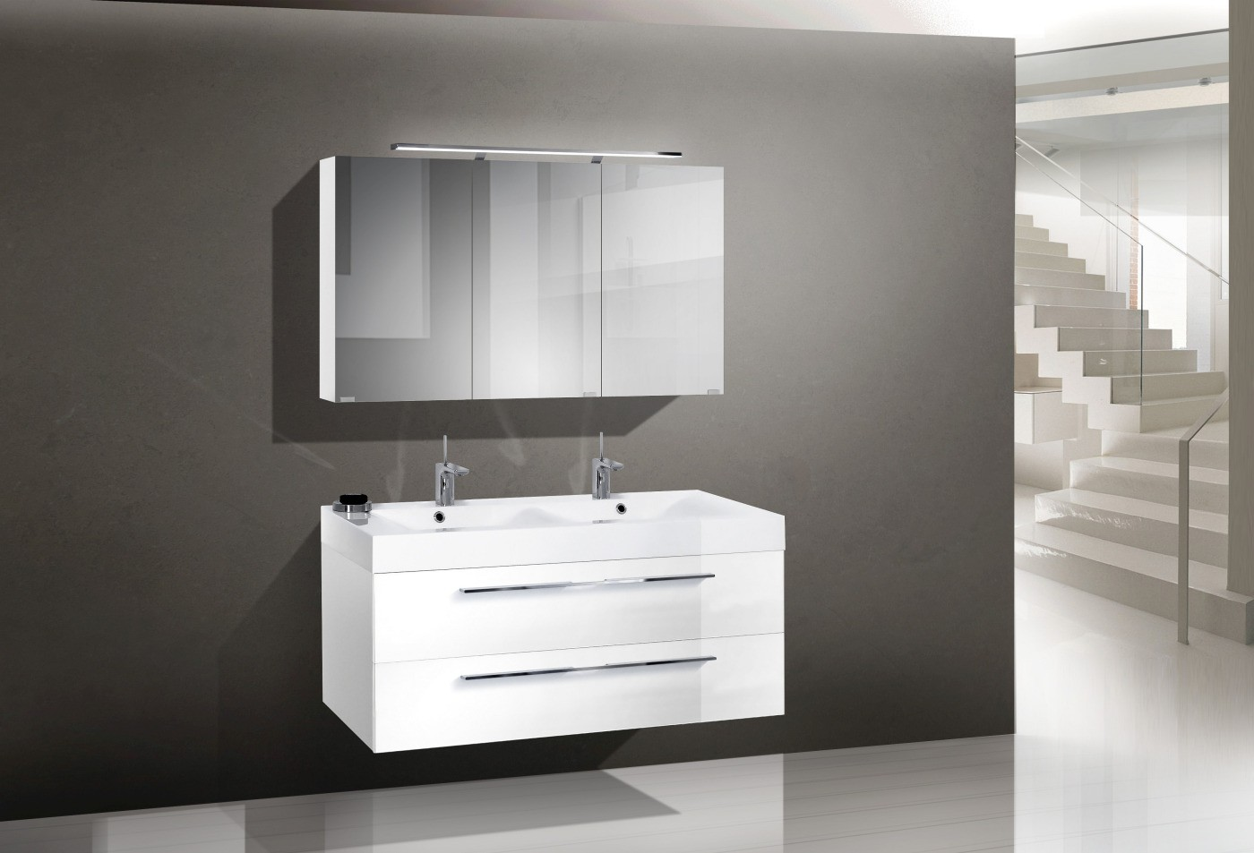 Design badm bel set mit doppelwaschtisch 120 cm for Designer doppelwaschtisch