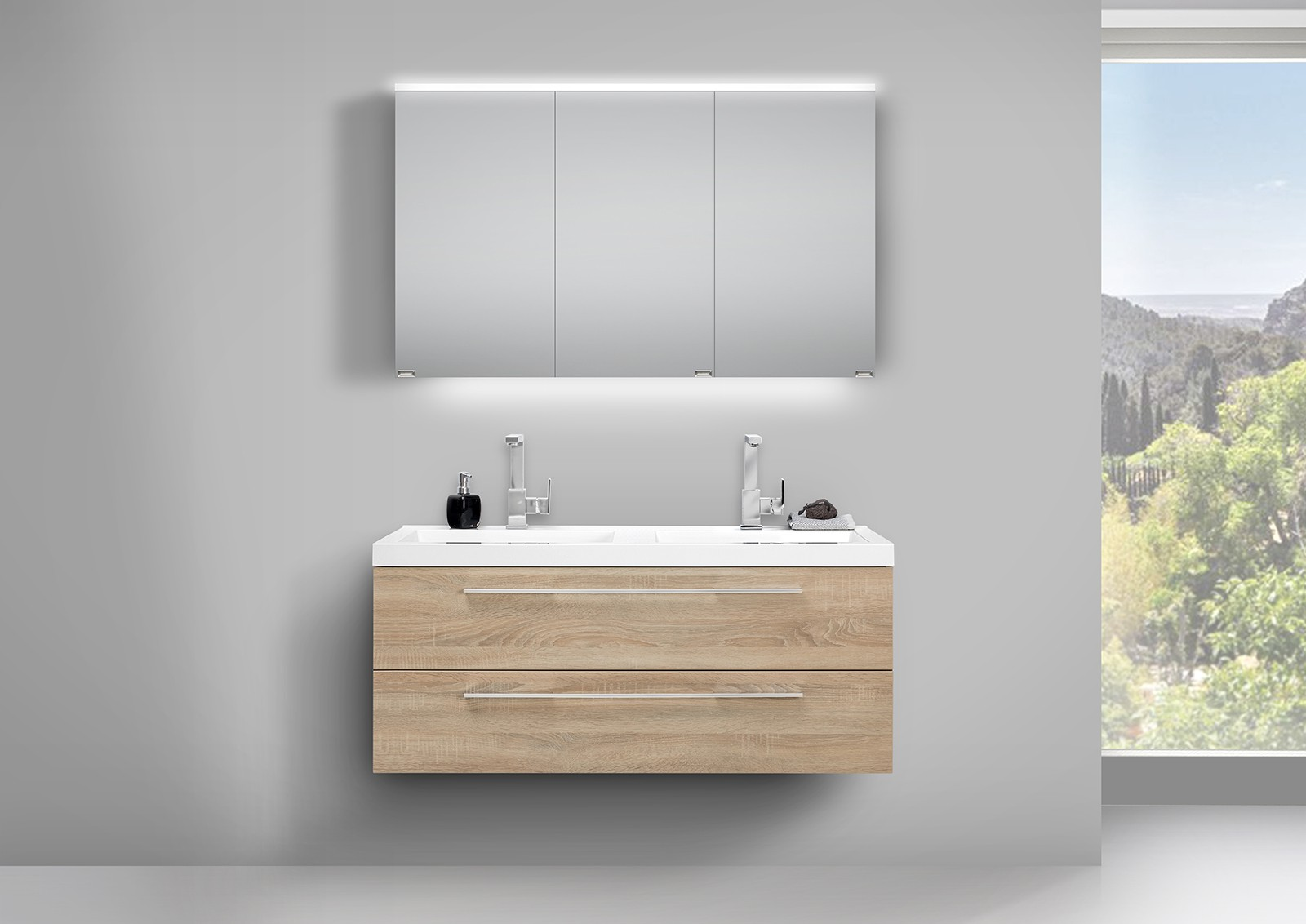 design badm bel set mit led spiegelschrank und. Black Bedroom Furniture Sets. Home Design Ideas