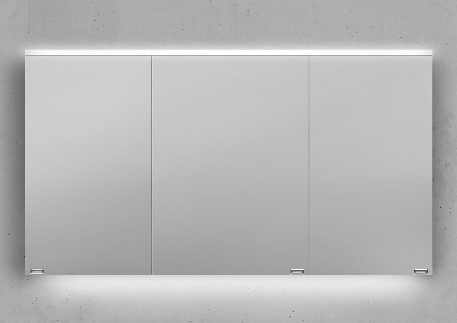 spiegelschrank 130 cm integrierte led beleuchtung doppelt verspiegelt. Black Bedroom Furniture Sets. Home Design Ideas