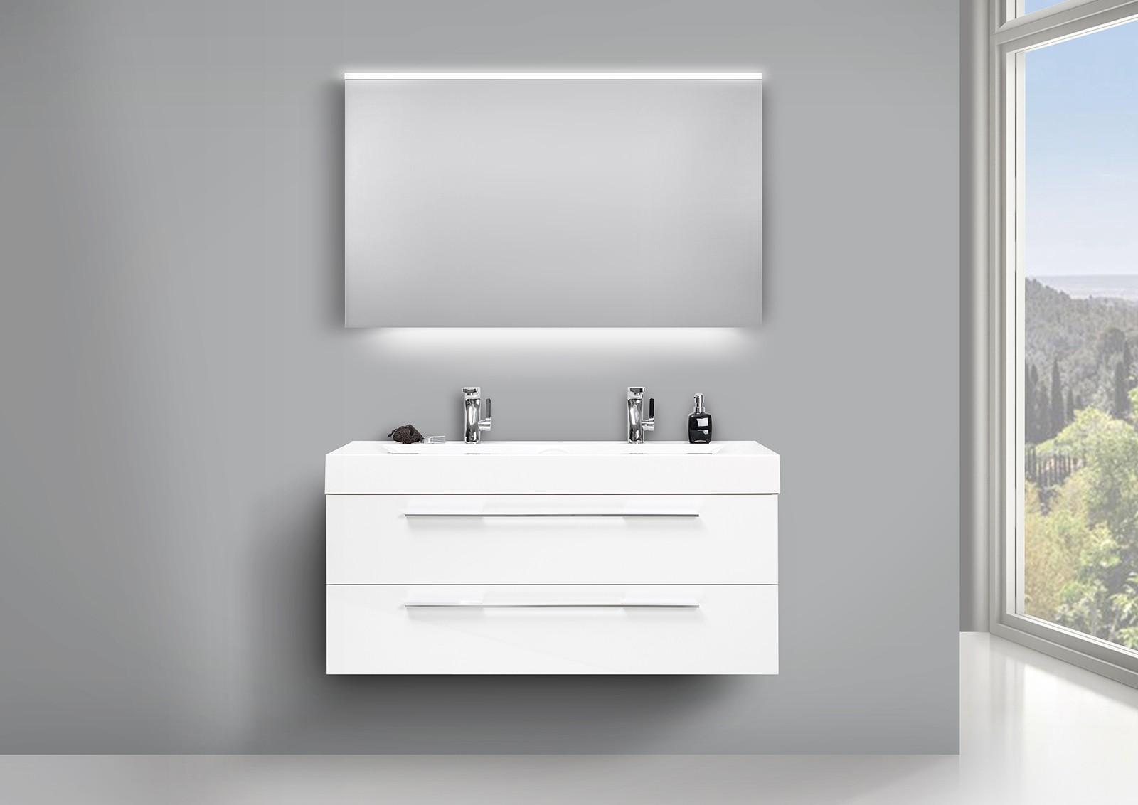 Badezimmer set doppelwaschtisch unterschrank 120cm weiss for Badezimmer set doppelwaschtisch