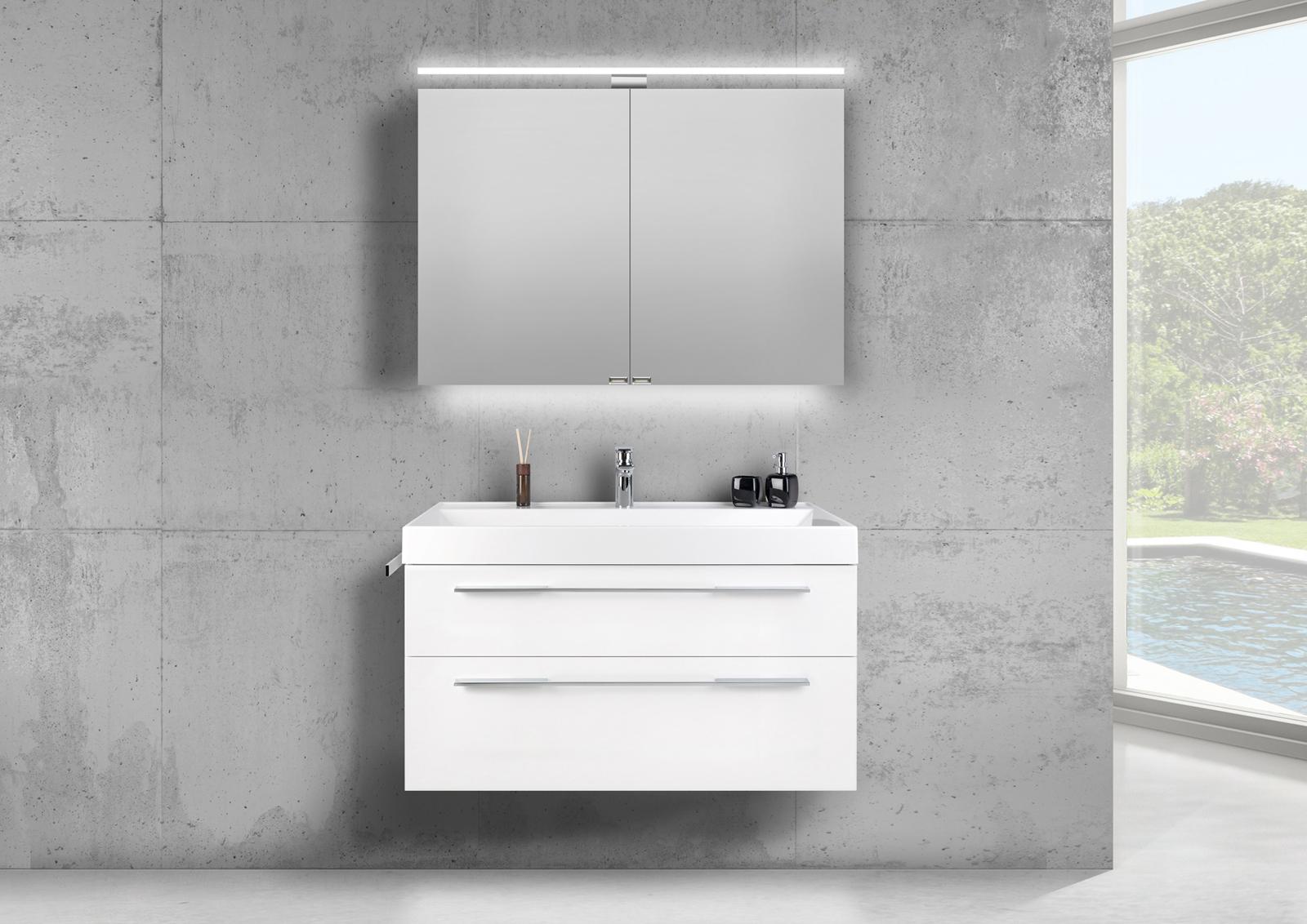 badm bel set 100 cm doppelwaschtisch evermite mit spiegelschrank led wei hg. Black Bedroom Furniture Sets. Home Design Ideas