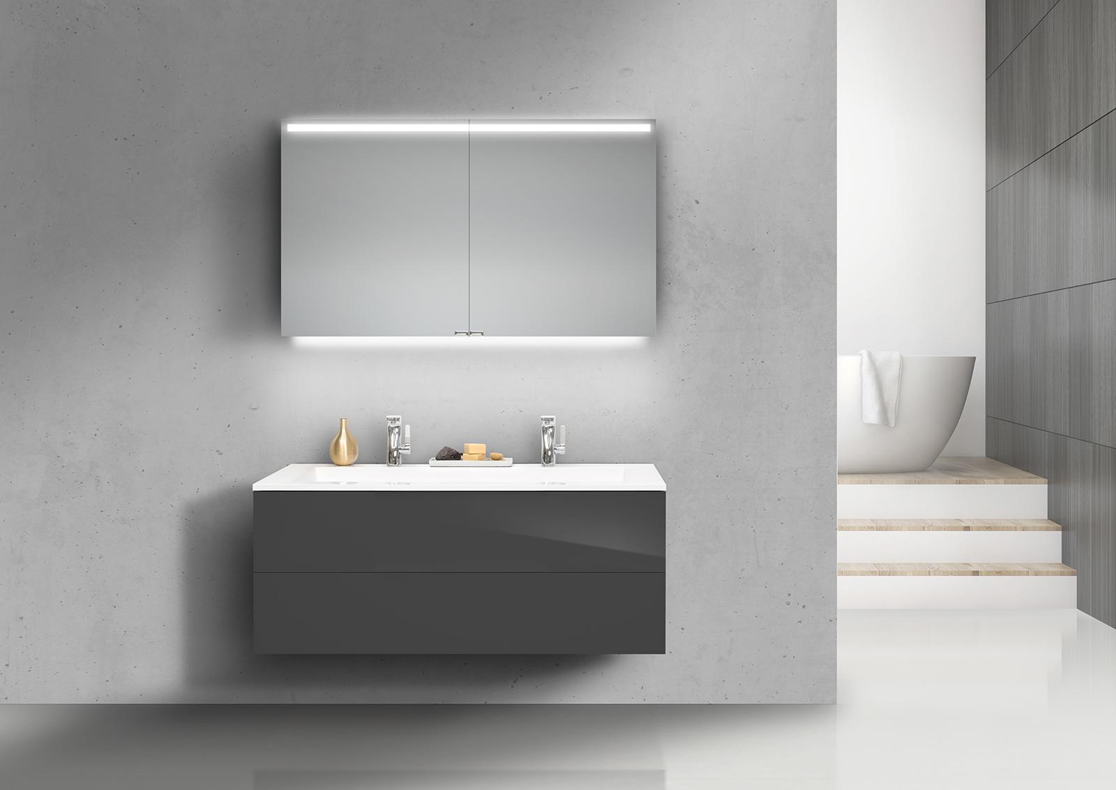 badm bel set grifflos cubo 120 cm doppelwaschtisch mit unterschrank und led spiegelschrank. Black Bedroom Furniture Sets. Home Design Ideas