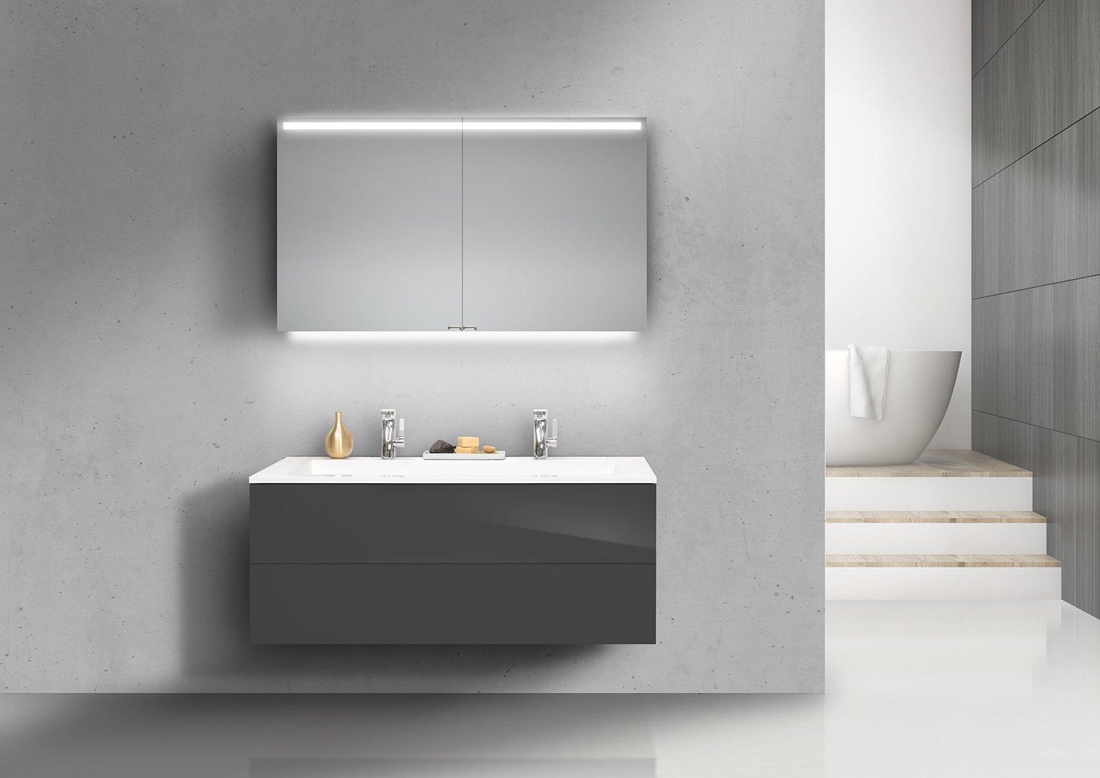 badm bel set grifflos cubo 120 cm doppelwaschtisch mit. Black Bedroom Furniture Sets. Home Design Ideas