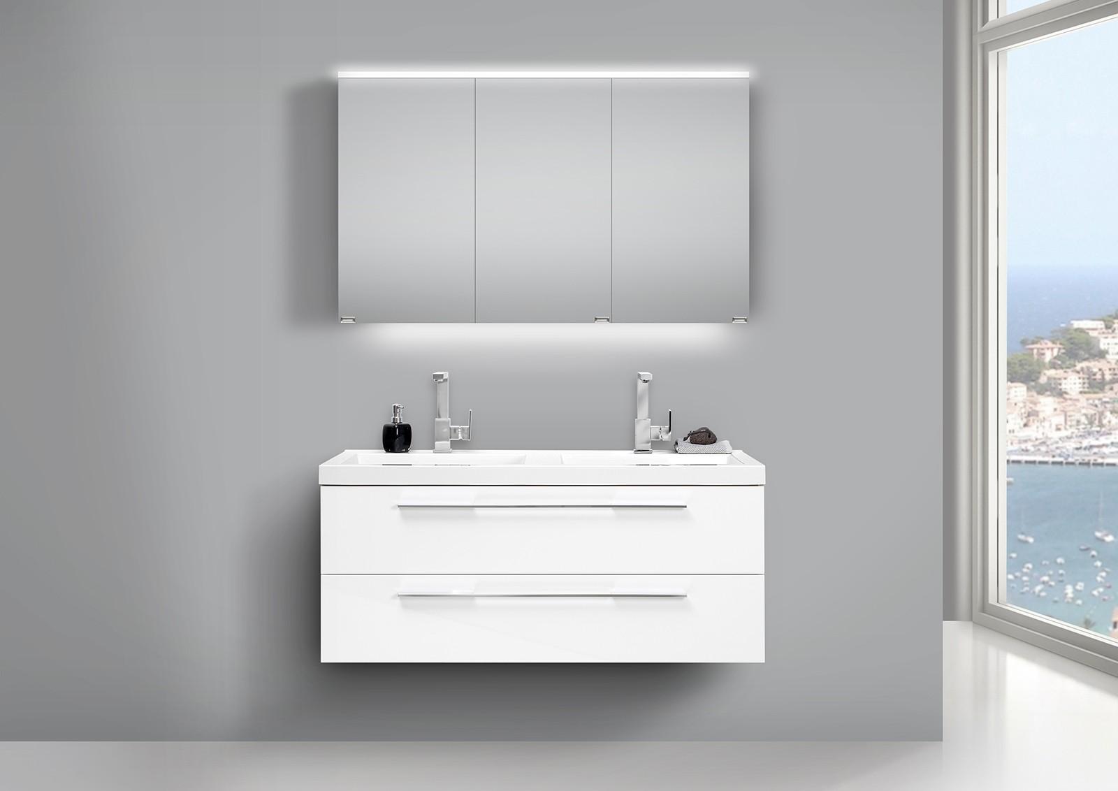 design badm bel set weiss 120cm mit doppelwaschtisch und. Black Bedroom Furniture Sets. Home Design Ideas