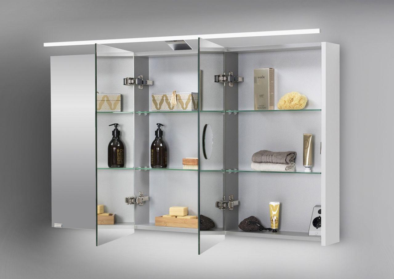 Spiegelschrank 120 cm LED Beleuchtung doppelseitig verspiegelt