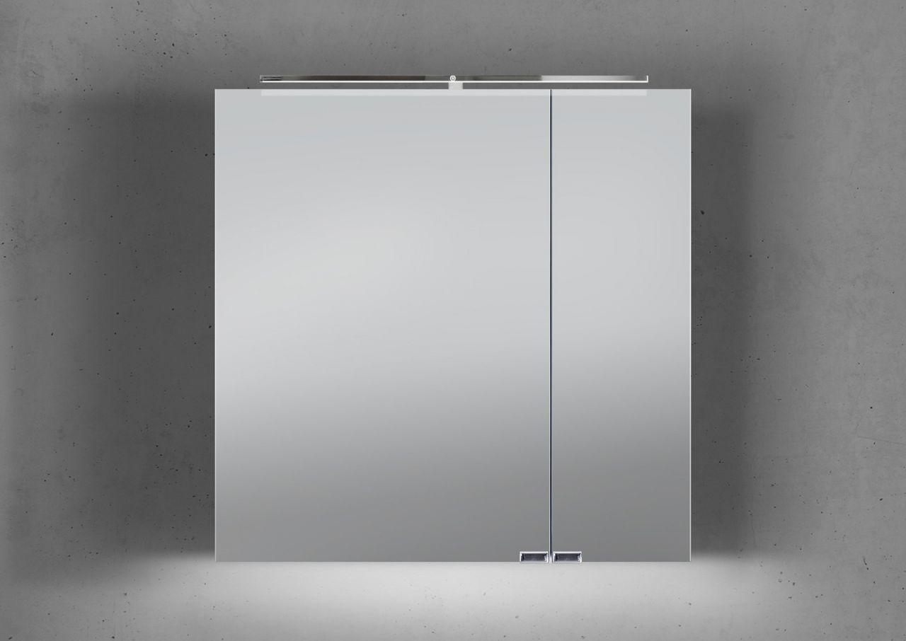 spiegelschrank 70 cm led beleuchtung mit farbwechsel doppelt verspiegelt wei ebay. Black Bedroom Furniture Sets. Home Design Ideas