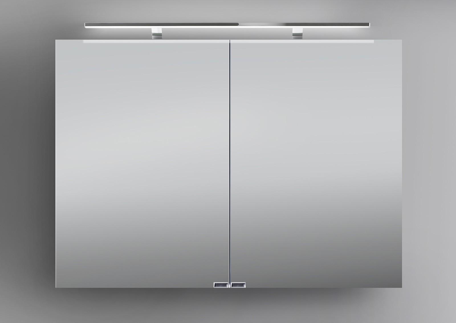 spiegelschrank 100 cm inkl led beleuchtung doppelseitig verspiegelt. Black Bedroom Furniture Sets. Home Design Ideas