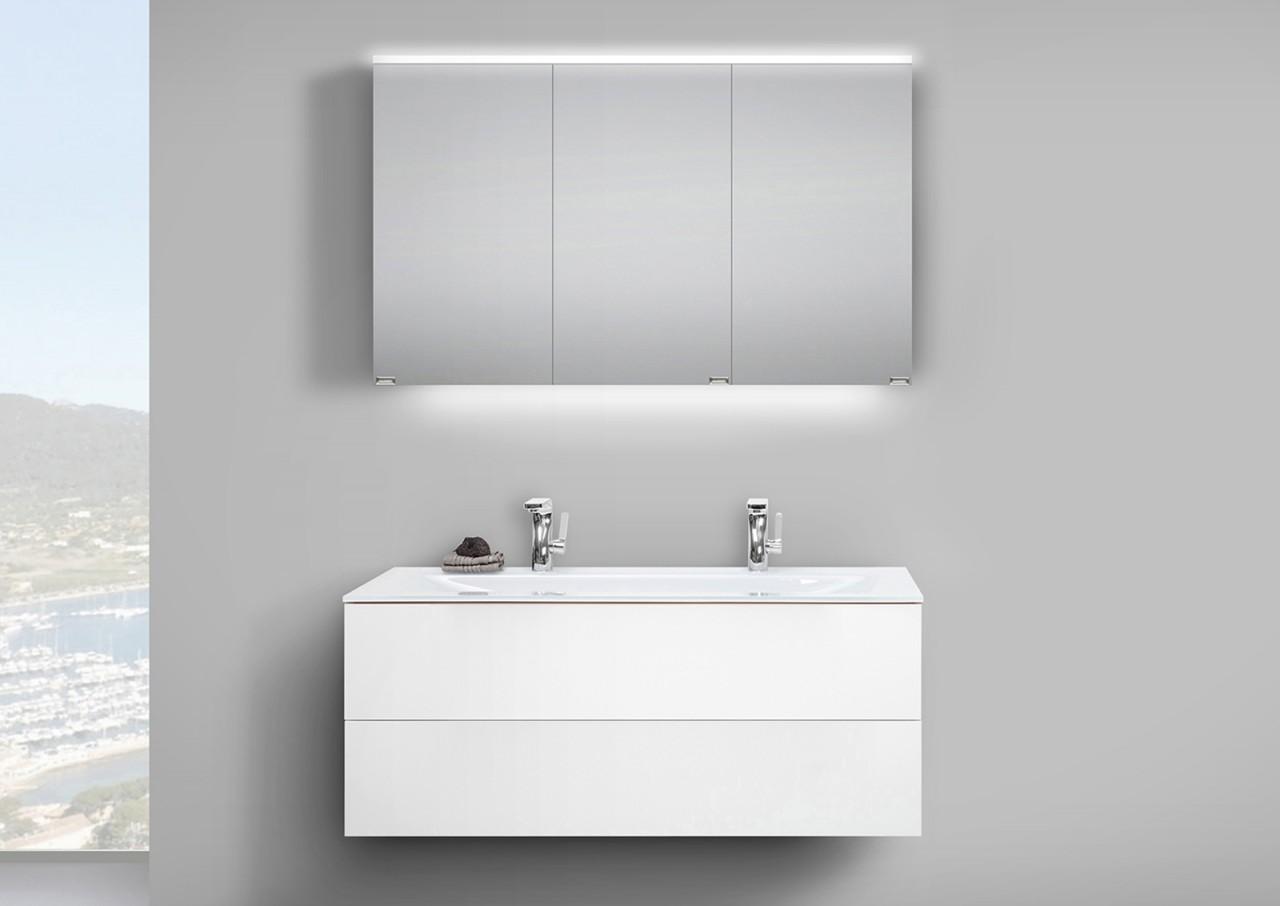 badm bel set grifflos 120 cm glas doppelwaschtisch mit. Black Bedroom Furniture Sets. Home Design Ideas