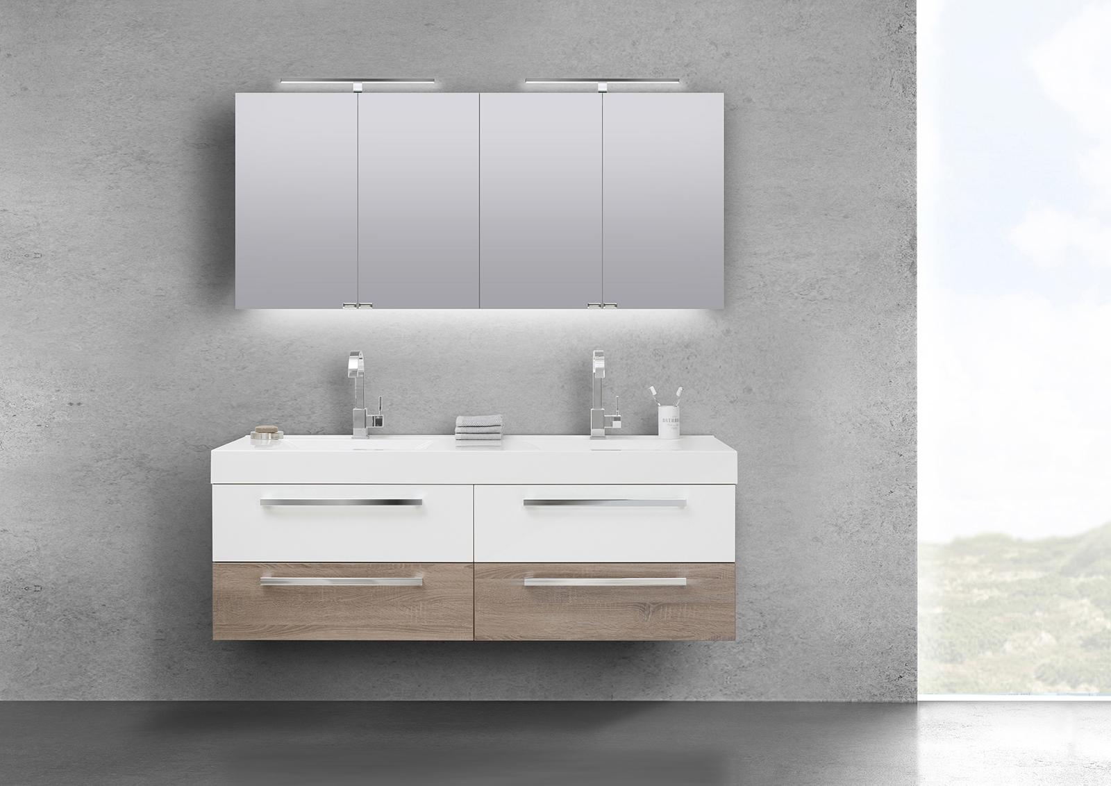 badm bel set doppelwaschbecken 160 cm mit unterschrank spiegelschrank. Black Bedroom Furniture Sets. Home Design Ideas