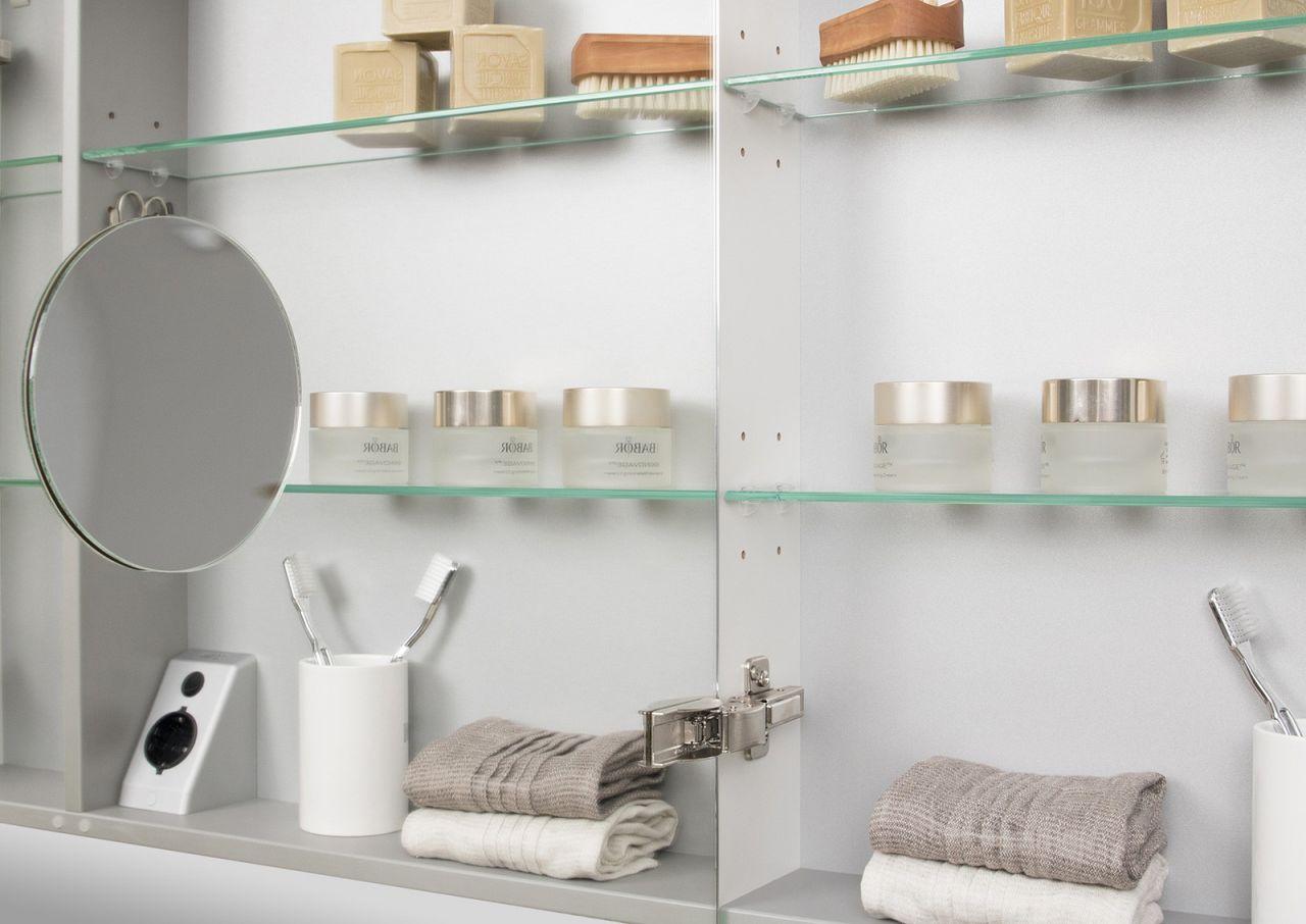 spiegelschrank bad 90 cm led beleuchtung doppelseitig verspiegelt wei hochgla ebay. Black Bedroom Furniture Sets. Home Design Ideas