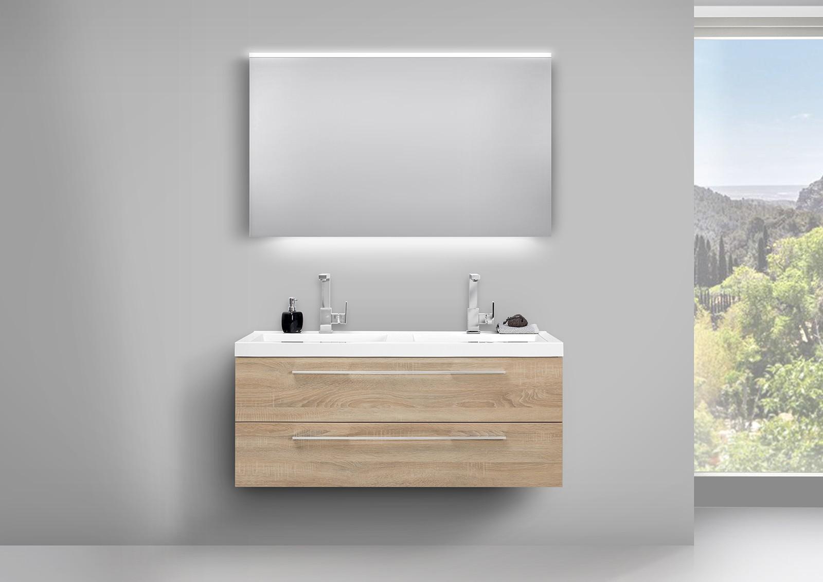 Design badezimmer set mit led lichtspiegel und for Badezimmer set mit doppelwaschtisch