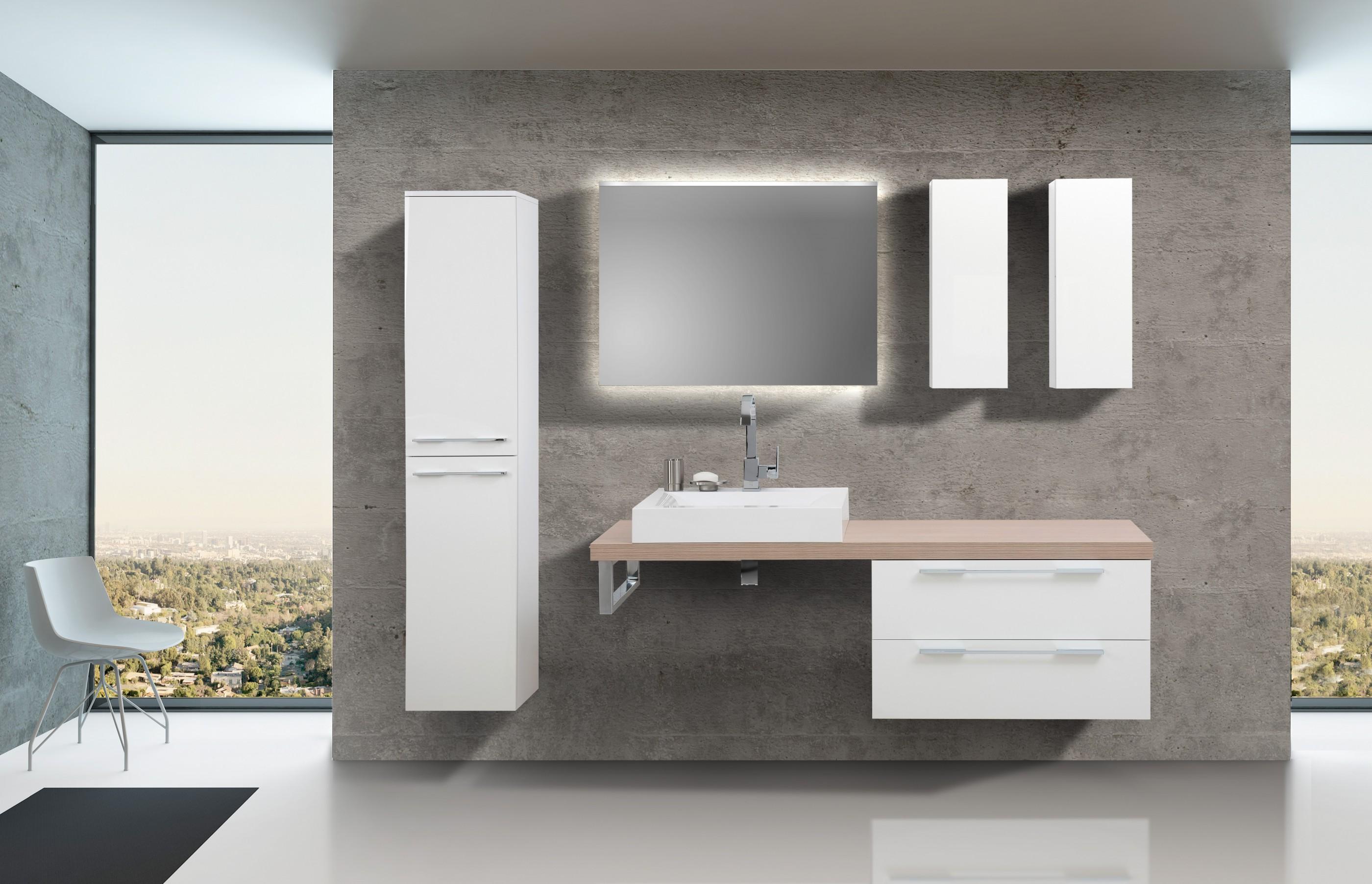 Badezimmermobel Set Mit Design Waschbecken Lichtspiegel Und