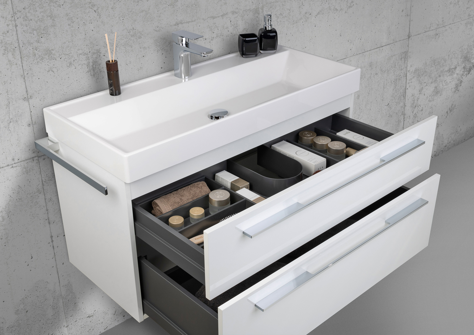 Design Badmöbel 100 Cm Waschtisch Mit Unterschrank Und Led