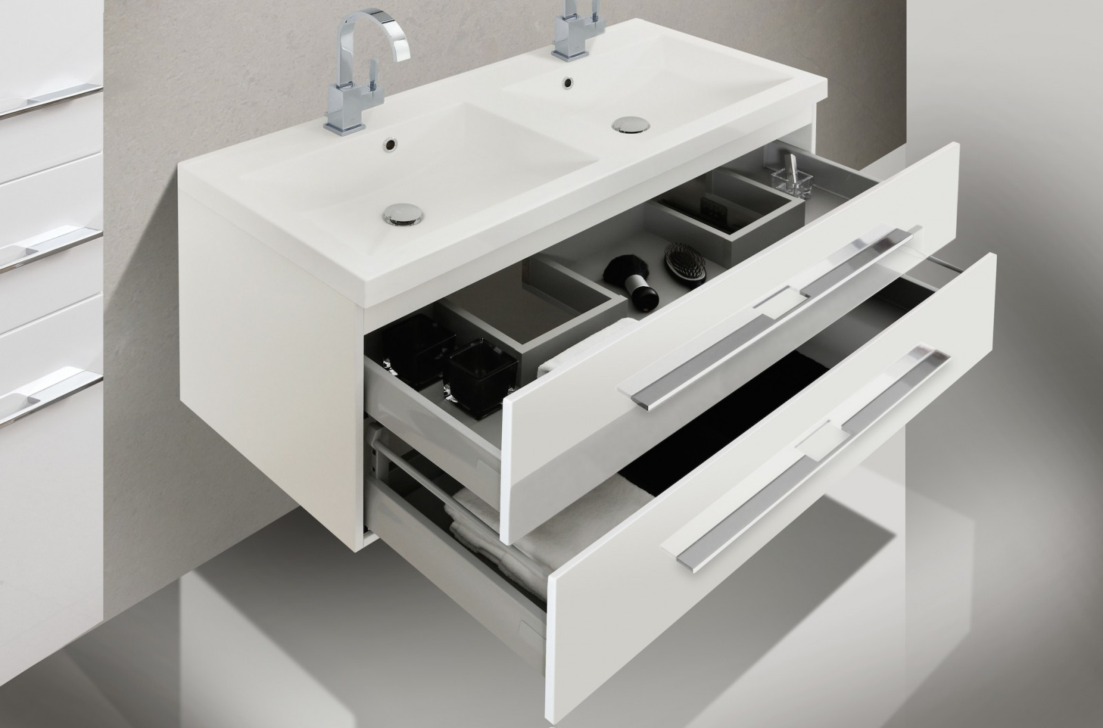 badm bel set mit waschbecken und 120 cm doppelwaschtisch. Black Bedroom Furniture Sets. Home Design Ideas