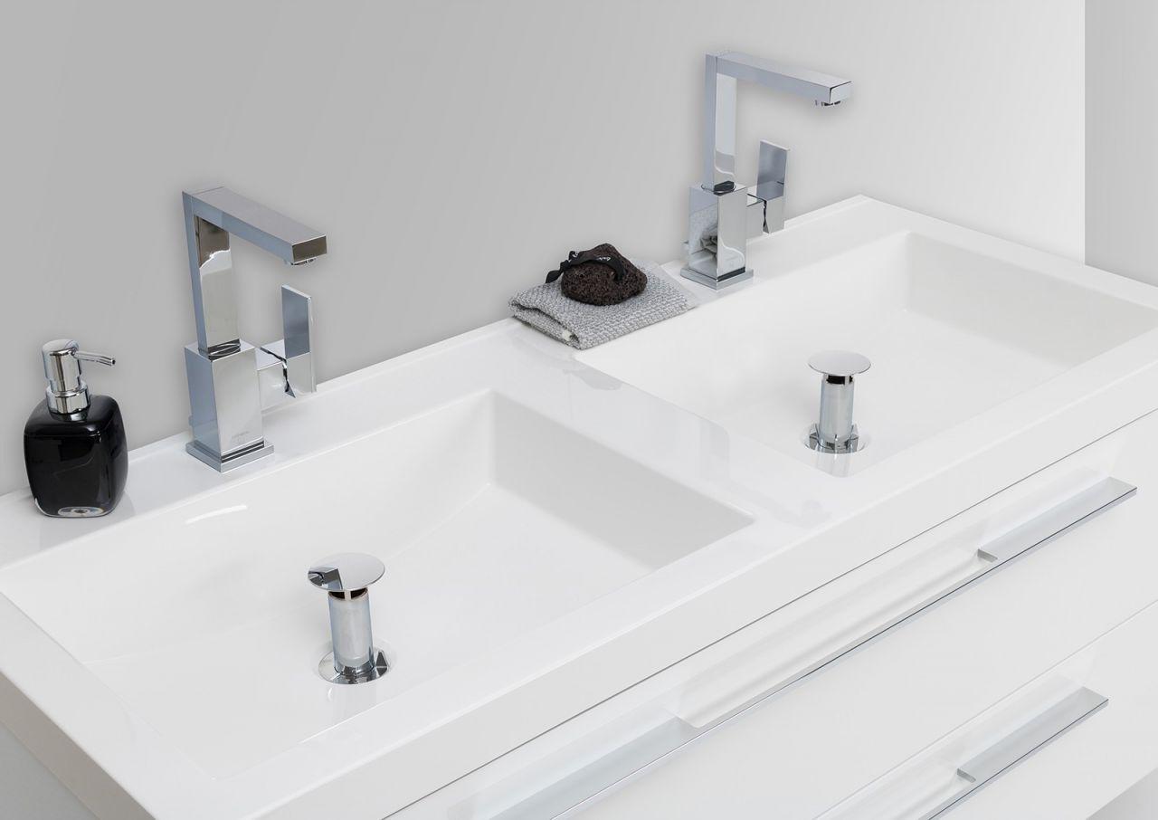 Doppelwaschtisch 120cm und led lichtspiegel badezimmer set for Badezimmer set mit doppelwaschtisch