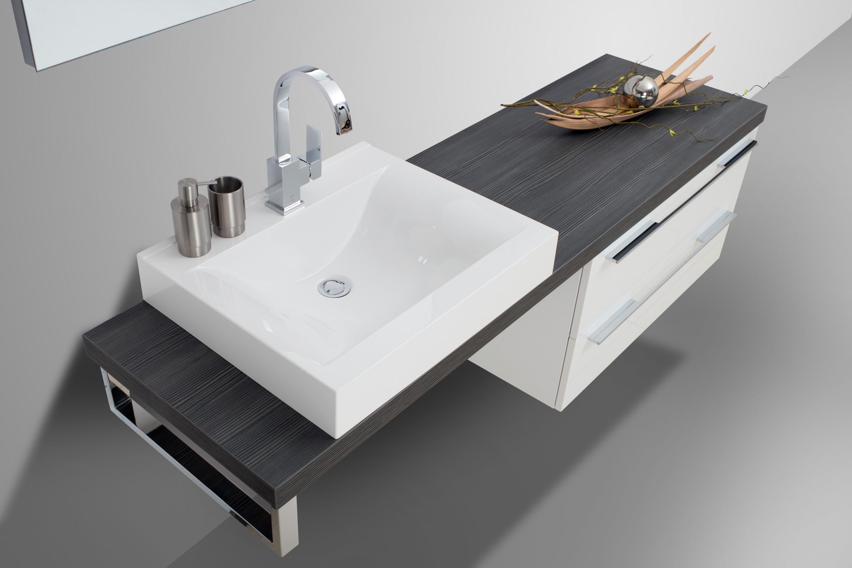 design badezimmer set mit waschbecken und waschtischplatte nach ma in anthrazit. Black Bedroom Furniture Sets. Home Design Ideas