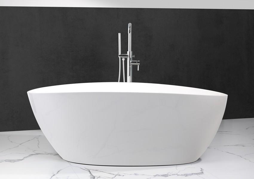 Freistehende Badewanne aus Mineralguss 170x77x62 cm in Weiß Glanz oder Matt