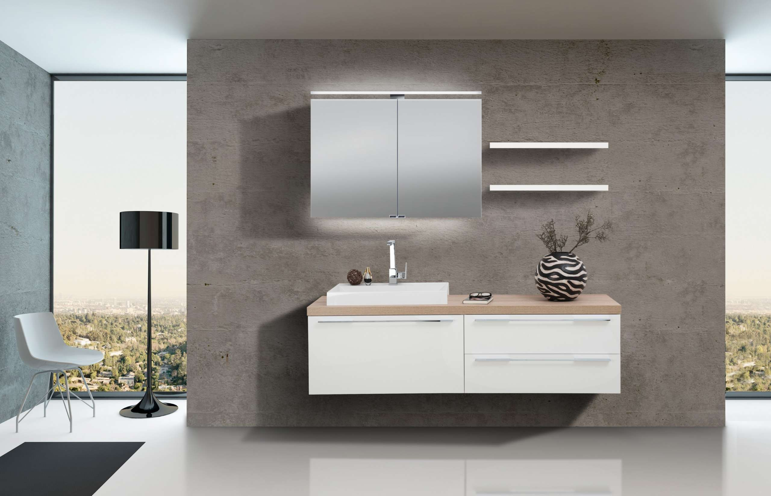 Badezimmer Set Mit Spiegelschrank Und Waschbecken Luxor | Designbaeder.com
