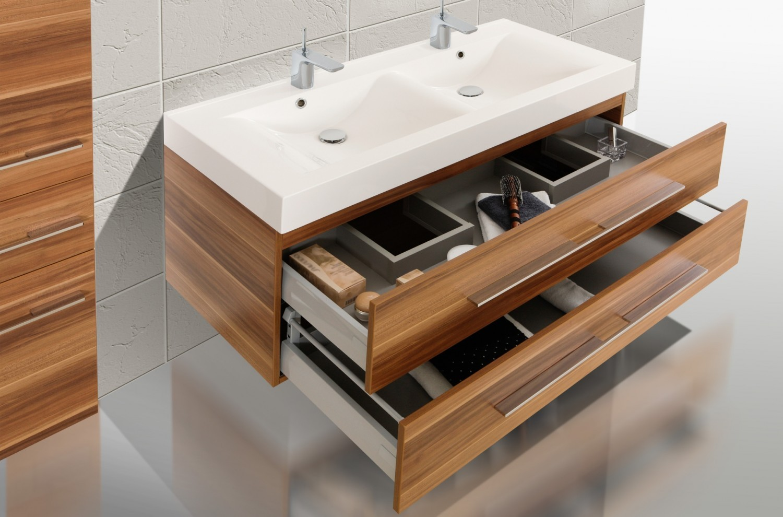 Design badm bel set doppelwaschtisch 120 waschbecken for Doppelwaschtisch set